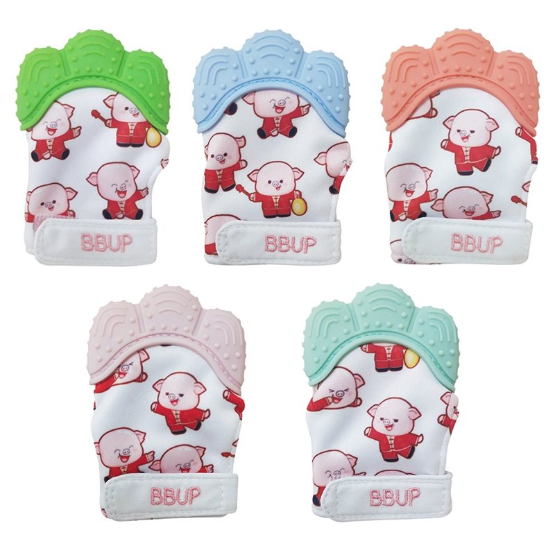 New 2019 Infant Baby Cartoon Print Teethers Molar Gloves Eat Fingers Soft Gel Baby Teething Mittens Chewable Nursing in Gloves Mittens from Mother Kids