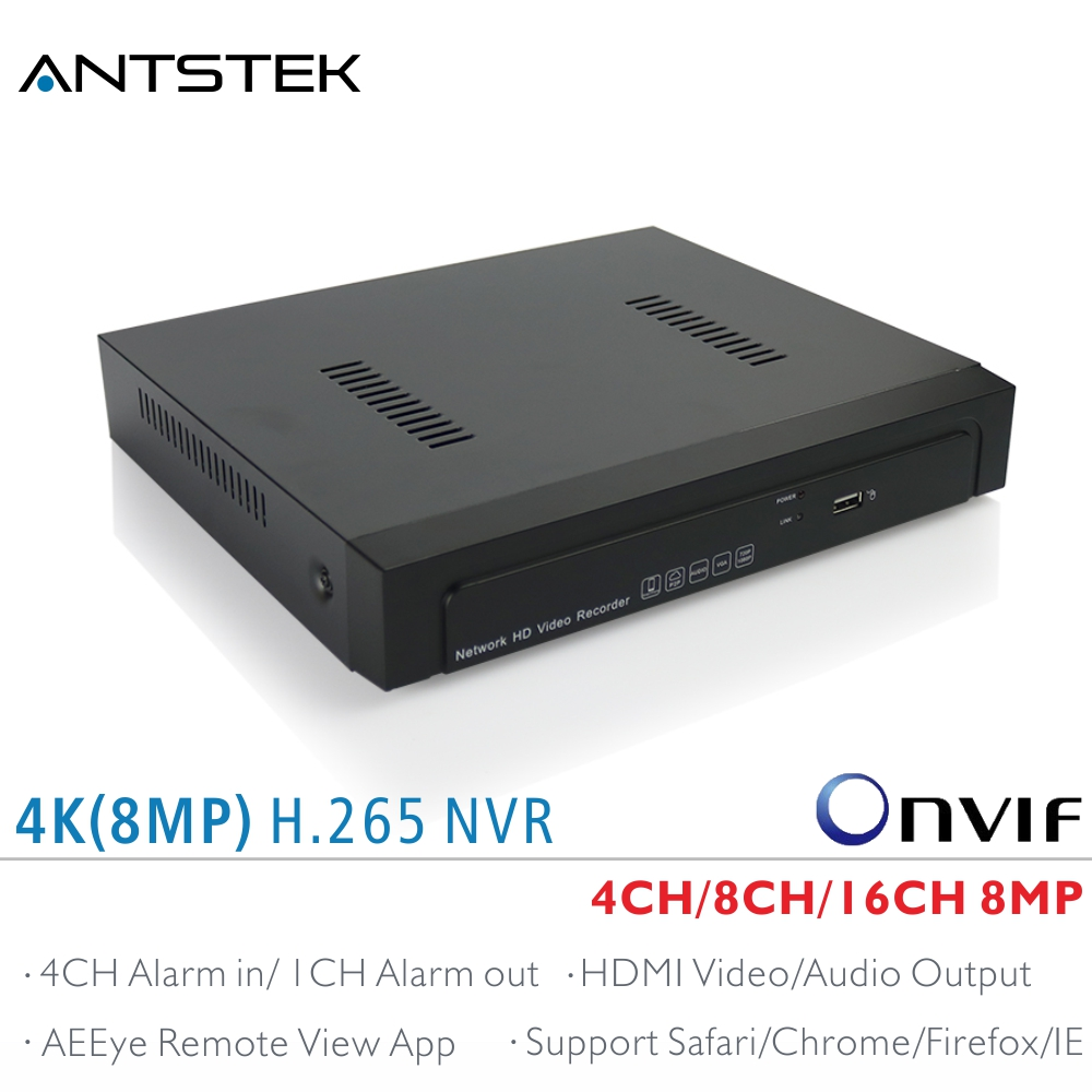ANTSTEK 4CH,8CH,16CH H.265 4K(8MP) NVR Support 1x6TB SATA HDD with AEEye Smartphone View App support HDMI Video Audio output
