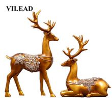 VILEAD 2pc/Set 12.2 Resin Deer Statue Creative Modern Elk Figurine Sculpture Home Decoration Accessories Store Office Entrance