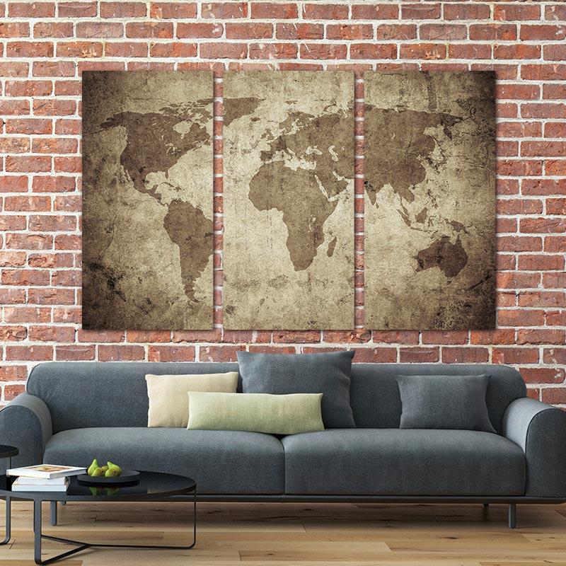 Arte de la pared Pintura en lienzo Vintage Travel World Map Painting - Decoración del hogar