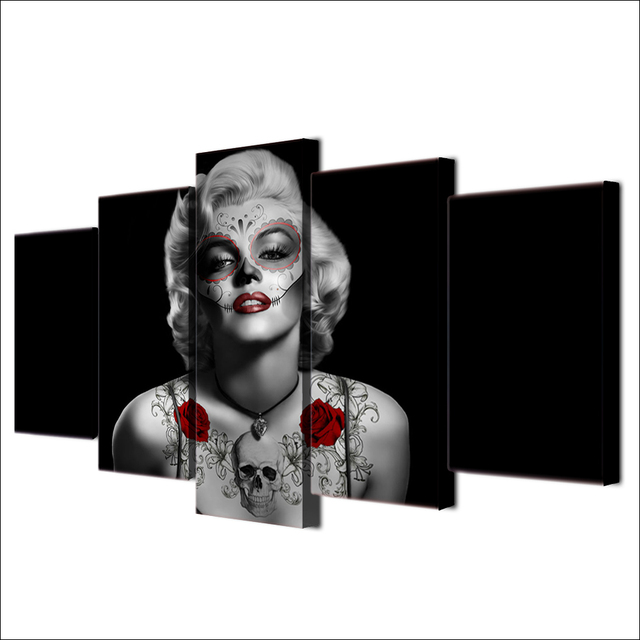 HD Printed Marilyn Monroe Tattoo Red Rose Painting Canvas Print room ...