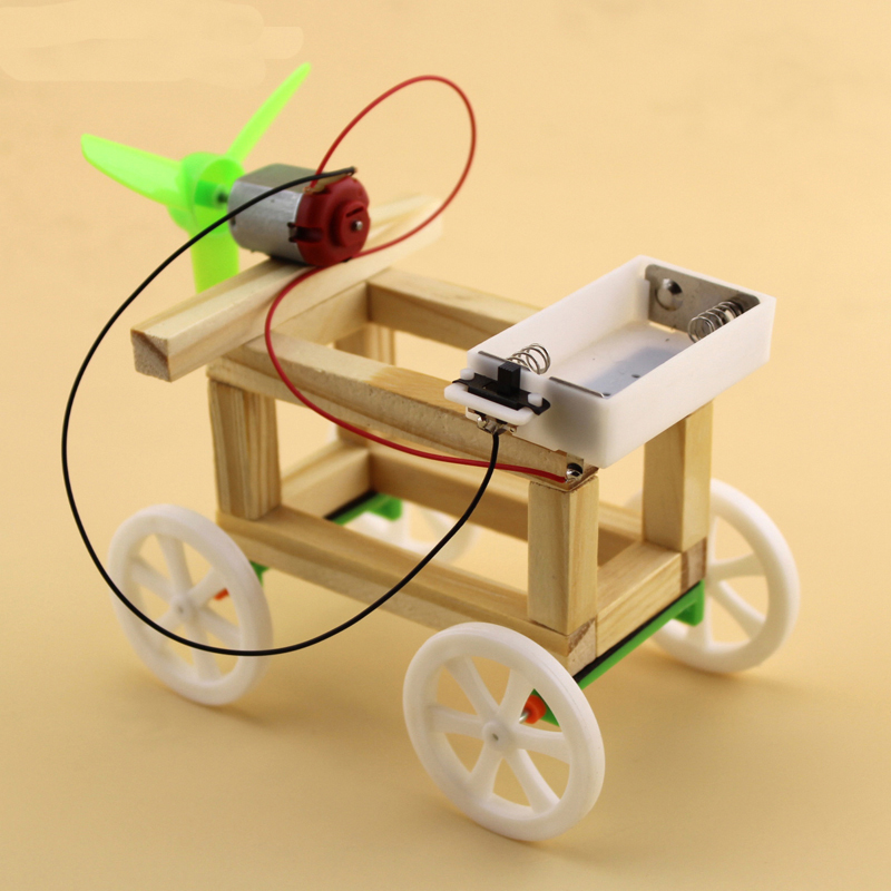 DIY Technology Production Model Wind Up Toys Wind Powered Wind-up Toy Car
