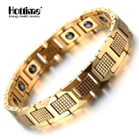 Hottime Men S Fashion Healthy Magnetic Therapy Bracelet Bio Elements Energy Germanium Bracelets Bangles Gold Plated