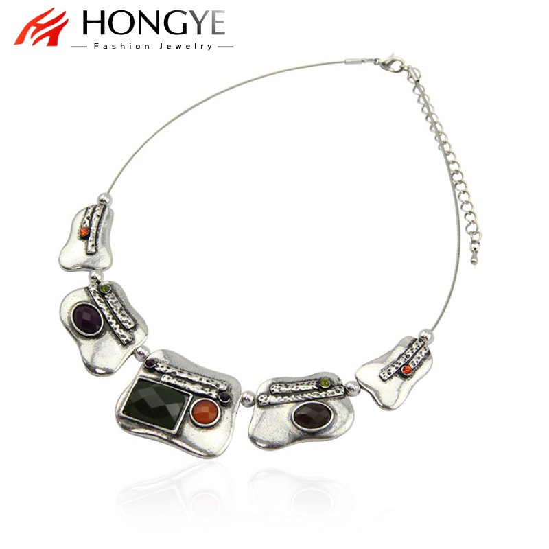 HONGYE New Fashion Vintage Antique Silver Color Statement Necklaces Jewelry For Women Blue Black Red Color Resin Choker Necklace retro geometric bubble resin statement choker necklace vintage jewelry
