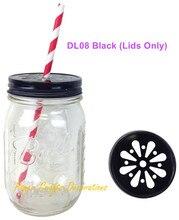 10 Stücke (deckel Nur) Schwarz Regelmäßige Mund Daisy Cut Trinken  Einmachglas Deckel Für Strohhalme