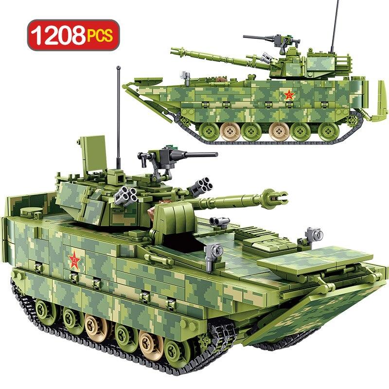 1208pcs City Technic Building Blocks WW2 Military Tank Amphibious Infantry Fighting Vehicle Bricks Toys For Kids