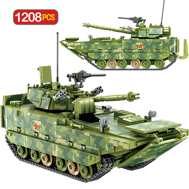 1208pcs City Technic Building Blocks WW2 Military Tank Amphibious Infantry Fighting Vehicle Bricks Toys For Kids Boys