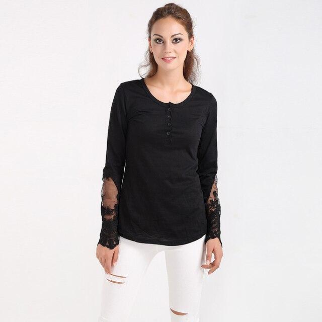 46a5a7947c472 2017 Femmes Nouveau Tricot Net Fil Couture T-Shirt Dames Chemise Ouvert  Forky Queue Dentelle