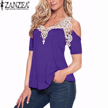 ZANZEA Lace Patchwork 2016 WomenSexy  Blouse Summer Blusas Off Shoulder V Neck Shirt Ladies Long Sleeve Plus Size Tee Tops