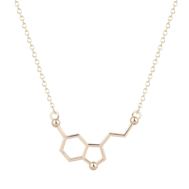 QIAMNI السيروتونين جزيء الكيمياء مضلع هندسي قلادة قلادة الدوبامين الحب مجوهرات عيد الميلاد حزب هدية ل فتاة النساء