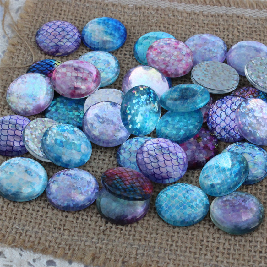 25mm Random Mixed Flash Colorful Fish Scales Round Glass Cabochon Flatback Photo Dome Jewelry DIY Accessories Tray 10pcs