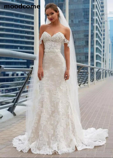 2018 Gorgeous Mermaid Lace Wedding Dresses Elegant Lace Appliques ...