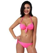 2017 New Sexy Bikini Set Halter Top Women Push UP Bikini Bathing Suit Brazilian Bikinis Female Swimsuit Swimwear Biquini