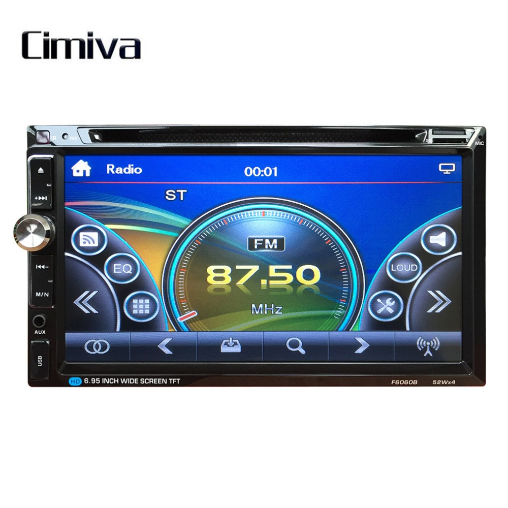 Cimiva 7 Inch TFT Car Vehicle  Large Touch Screen Display Dual Din DVD Player Multimedia Player Car Entertainment 12V 2 din car radio mp5 player universal 7 inch hd bt usb tf fm aux input multimedia radio entertainment with rear view camera