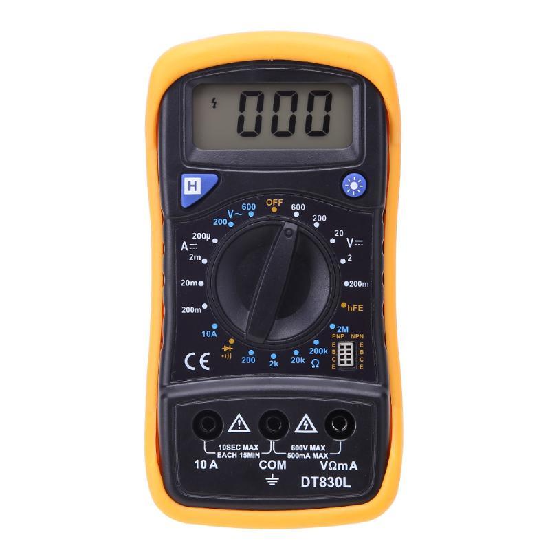 Digital Backlight LCD Multimeter AC/DC Voltage Current Meter Resistance Data Hold Tester Diode Test Multimeter Ohm Measurement