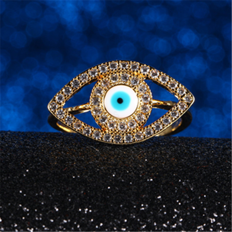 New fashion gilded small eyes zircon ring Fun and creative cute Halloween Children's <font><b>Day</b></font> jewelry accessories 2018 gift image