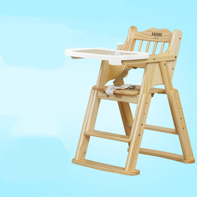 Multi Function Folding Solid Wood Child Seat Portable Adjustable Baby High  Chair With Plate Feeding
