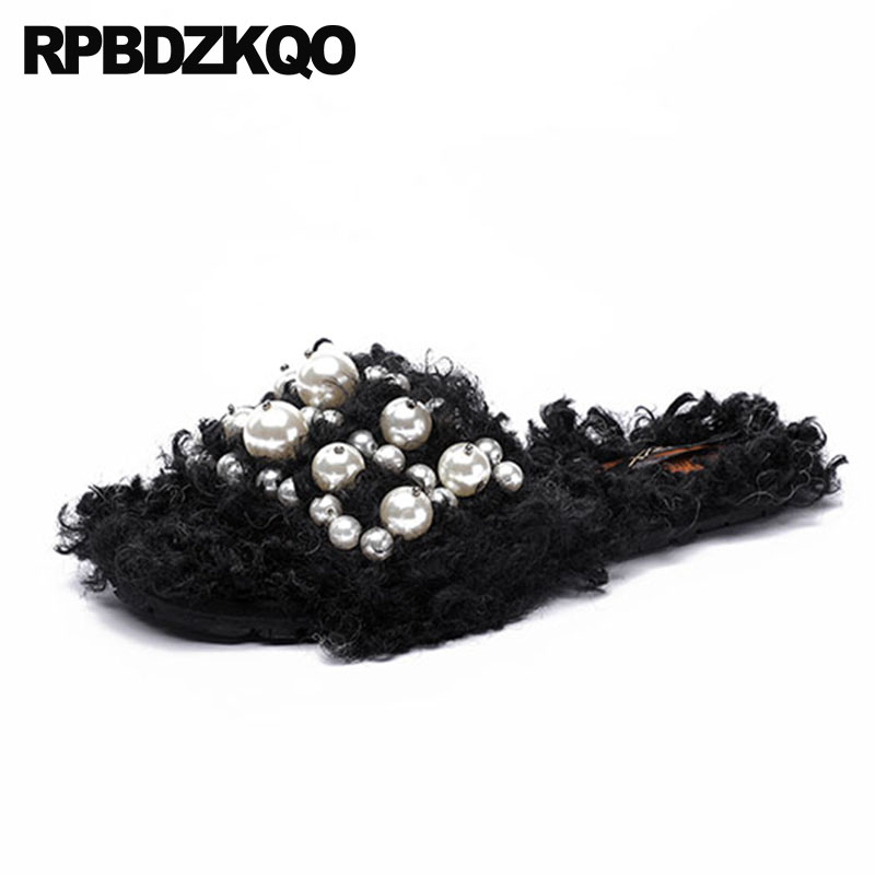 47d1b8a6a9a Ladies Runway Black Luxury Shoes Women Designers Fur Pearl Fuzzy Brand 2018 Fluffy  Embellished Slides Furry Chinese Slippers-in Slippers from Shoes on ...
