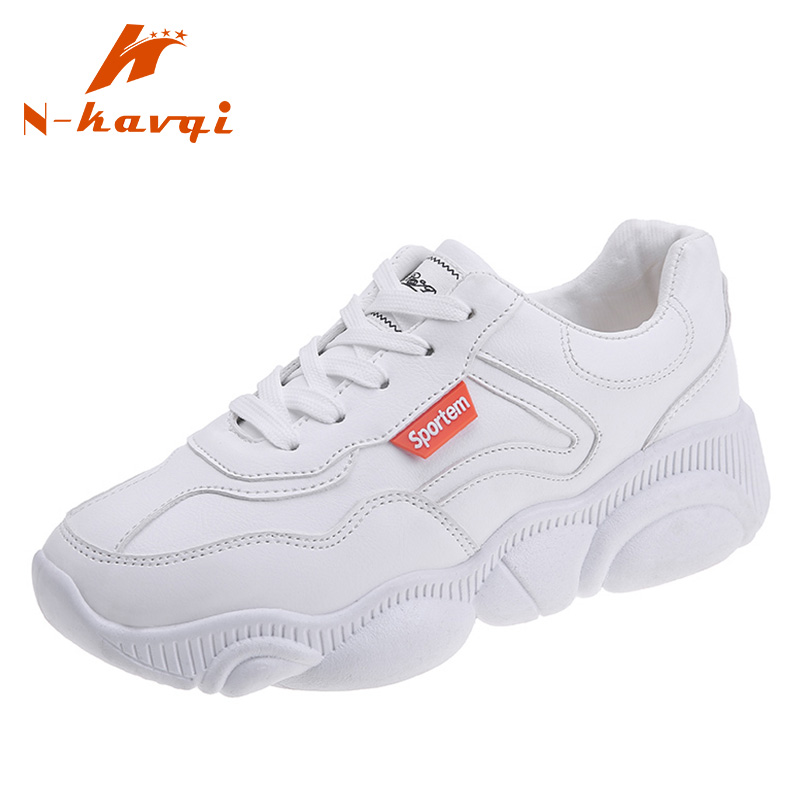 NKAVQI Women PU Leather Casual Shoes Women Platform Shoes Sneakers Walking Trainers Spring Ladies Lace Up Flats Chaussure Femme