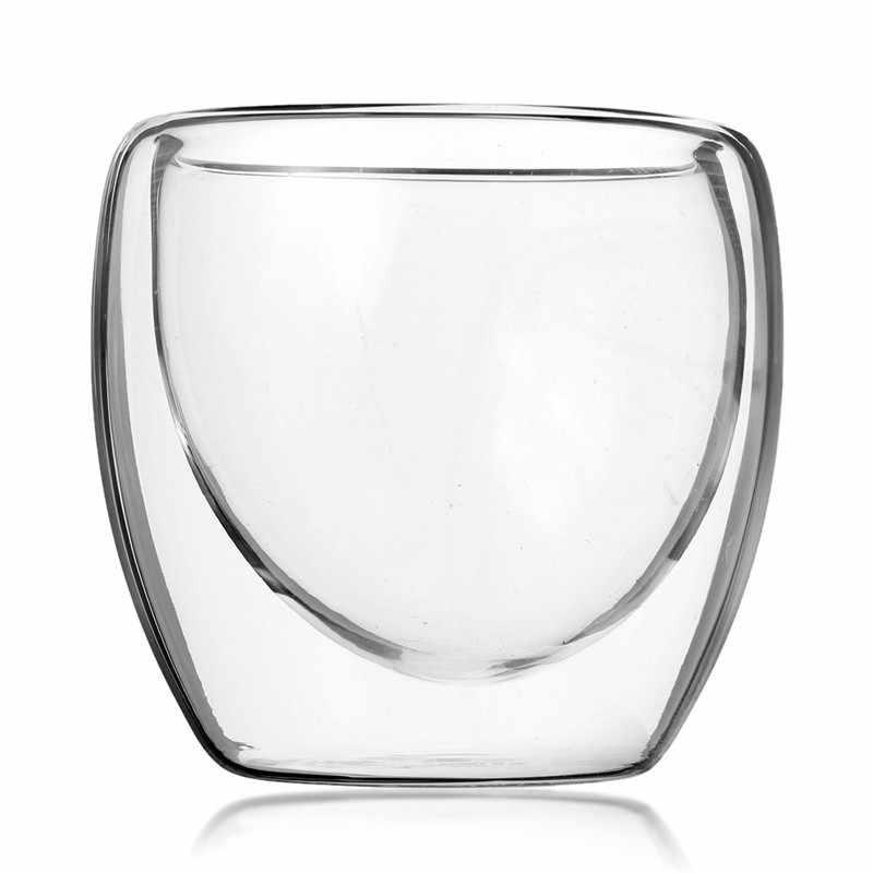 Mrosaa 80ミリリットルガラスカップ二重層コーヒーティーカップガラス製品ミルクビールマグ絶縁されたワインカップ箸置きギフト