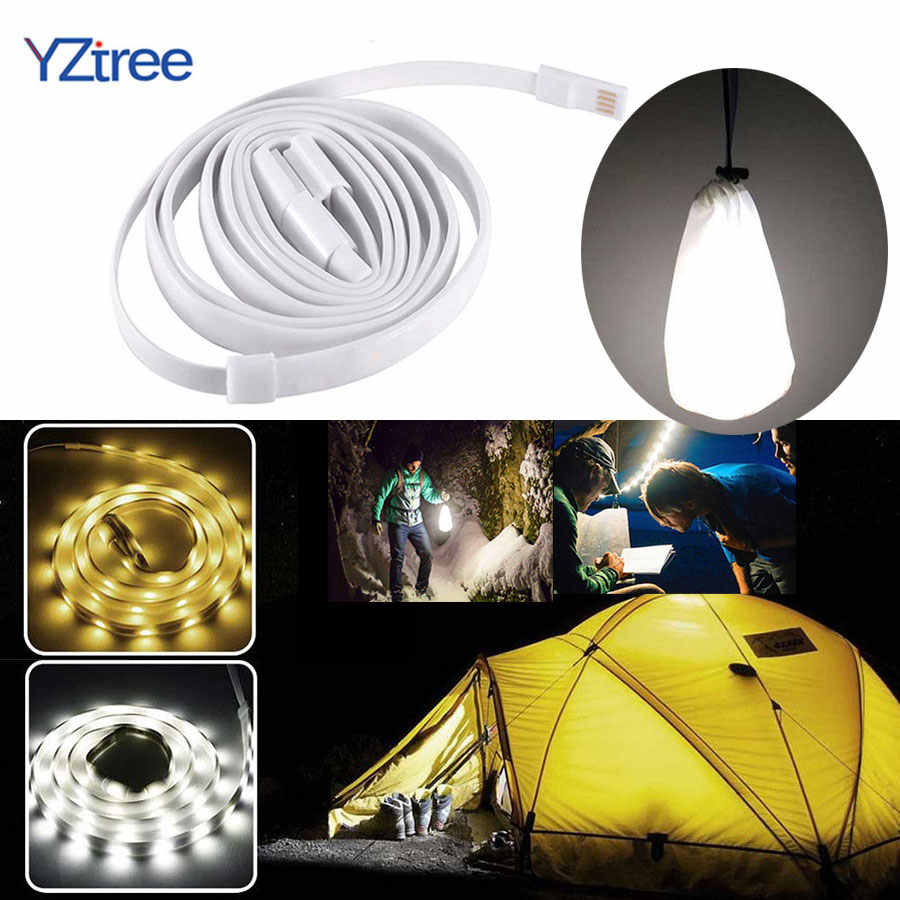 YZtree Draagbare Waterdichte LED Strip 1.5m DC5V USB Flexibele SMD 2835 LED Rope Light voor Outdoor Camping Wandelen Tent lantaarn Lamp