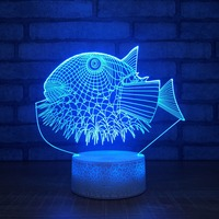 Acrylic Novelty 3D Fish Touch Table Lamp 7 Color Changing 3d Lamp Led Night Light For Children Gift Drop Shipping