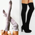 Stretch Faux Suede Female Women Boots Slim Thigh High Boots Sexy Fashion Over The Knee Boots High Heels Botas Shoes RD934295