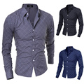 2015 новый бренд формальное геометрическая плед красный мода мужские рубашки с длинным рукавом slim-подходят свободного покроя социальный Camisas Masculinas M-XXL