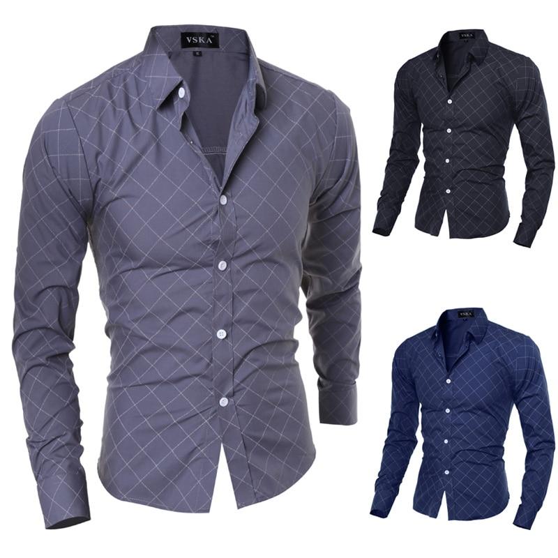 2015 Neue Marke Formale Geometrische Plaid Rot Mode Herren Hemden Langarm Slim Fit Casual Social Camisas Masculinas M-xxl