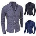 2015 nueva marca Formal geométrica Plaid Red moda hombres Camisas de vestir de manga larga Slim Fit Casual Camisas Social Masculinas M-XXL