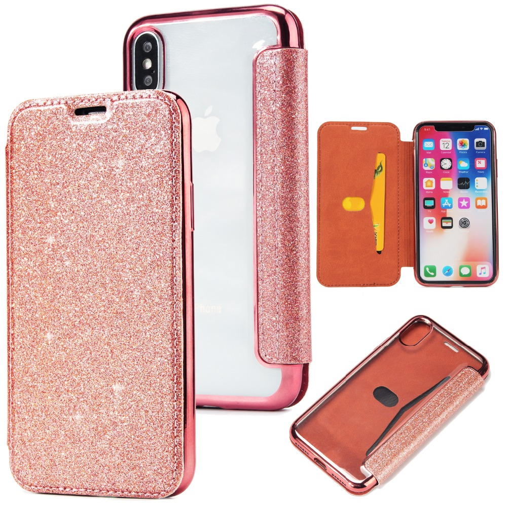 BuzzLee Gleam Blink Flip Phone Case For iPhone X 8 7 6 Plus Flash Powder Card Slot PU + TPU Back Cover for apple iphone 6S Plus