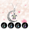 2017 Trendy Style Luminous Moon Necklace Hollow Turtle Chain Statement Necklace for Women Silver Color Jewelry