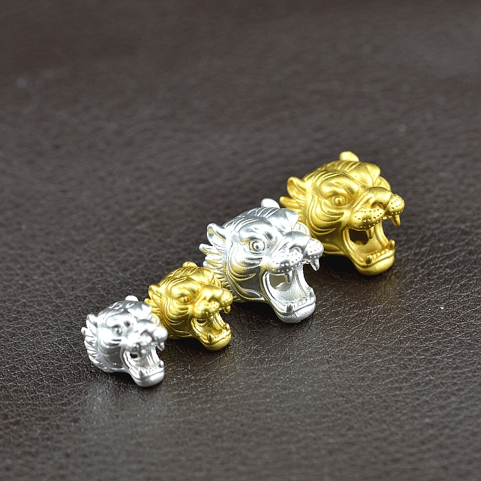 100% 3D 999 Silver Tiger-Head Beads Pure Silver Jewelry Accessories Beads DIY Bracelet Beads
