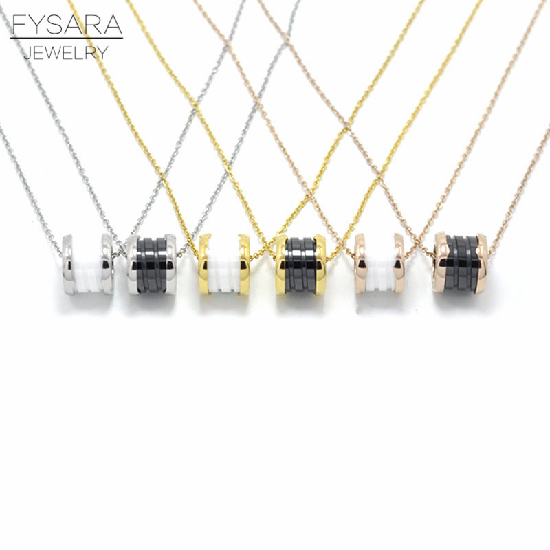 FYSARA Brand Classic Roman Numerals Necklace Short Spring White/Black Ceramic Pendant Necklace For Women Clavicle Love Necklace