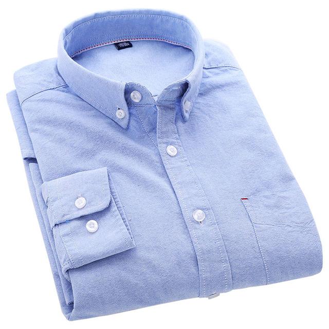 100% Algodão Lavado Dos Homens de Alta Qualidade Camisas Casual Cor Sólida Pescoço Botão-Up Dos Homens de Design Da Marca de Manga Longa Outono Camisas Oxford