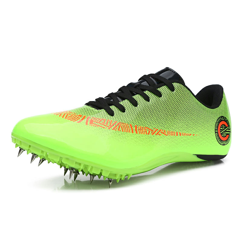 Green Orange Man Women Health Track and Field Spike Nail Shoes Student Training Athletic Shoes Professional Lace Up Sneakers