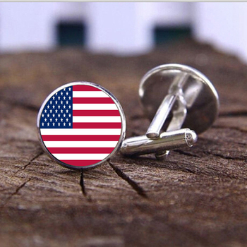 American flag cufflinks Silver plated USA flag Cuff links men and women Accessories national Antique Vintage Wedding cufflinks image