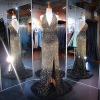 Длинные Sparkly платье для выпускного вечера Потрясающие Тяжелая Золото бисера Кристаллы высокий разрез спинки африканского черного Выпускны