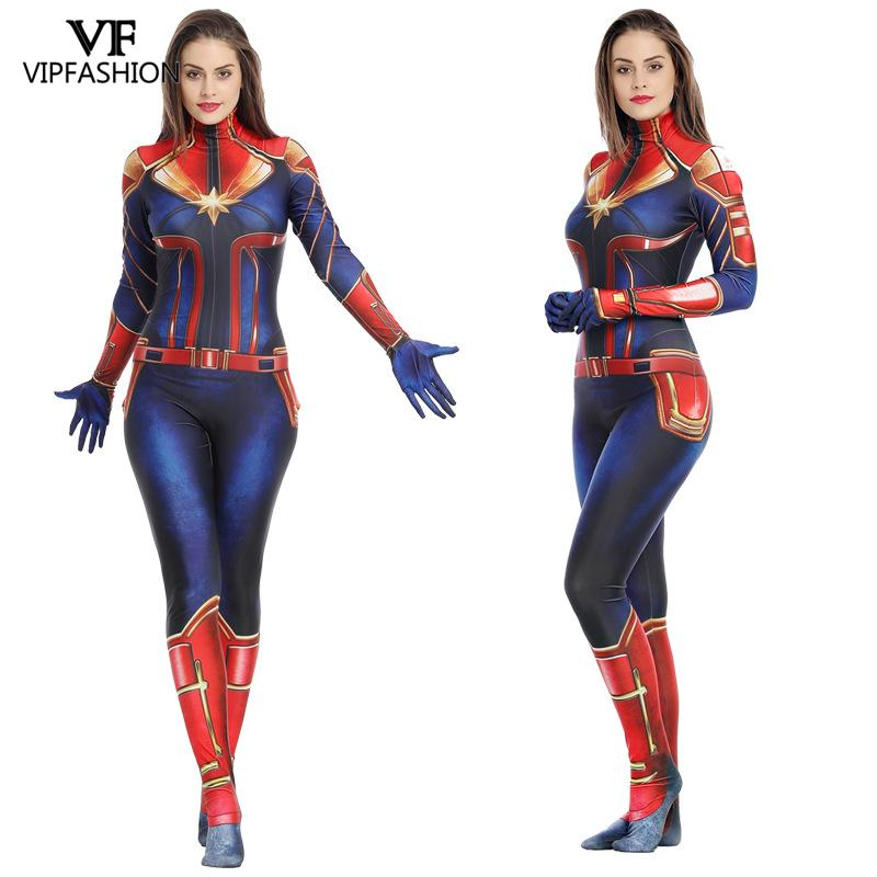 VIP FASHION Captain  3D Super Hero Costume Cosplay  Endgame Movie Jumpsuit Costumes For Women Plus Size Bodysuit