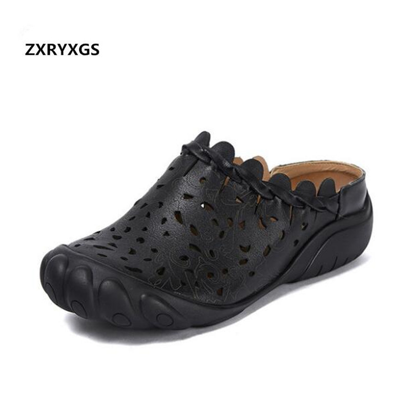 Light Comfort Hollow Weaving Soft Cow Leather Sandals Women Shoes Fashion Sandals Flat Slippers 2019 Newest