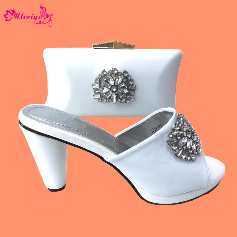 Arrival Ladies Italian Shoes and Bag Set Decorated with Rhinestone for Party Wedding Women Shoes with Matching Bag Set In Italy цена