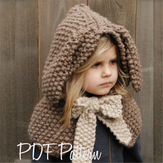 d847b14749b Girl Rabbit Ears Hat Baby Knit Cap   Cape Kids Chunky Yarn Hnadmade Rabbit Hats  Beanie