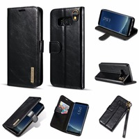DG MING For Samsung S8 Case 2 In 1 Magnetic Card Detachable Real Leather Cover For