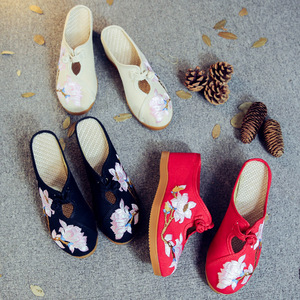 Image 3 - Veowalk Flower Embroidered Women Canvas Mules Wedge Slippers Slip on Close Toe Elegant Ladies Casual Summer Cotton Heeled Shoes