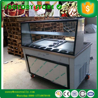 ice cream frying machine frying ice pan machine fried ice cream maker double pan with 11 fruit tanks