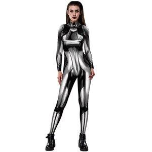 Image 2 - MEGATROID ve SAMUS siyah Samus Aran Metroid sıfır takım elbise Cosplay kostüm Lycra Spandex 3D baskı oyunu Zentai Catsuit Samus Bodysuit