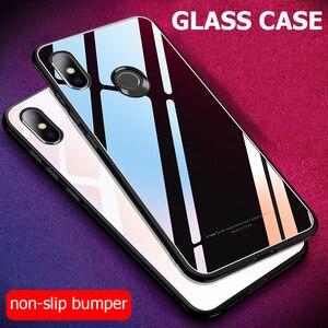 Image 1 - Para Xiaomi Redmi S2 funda de lujo a prueba de golpes híbrido duro funda de vidrio templado para Xiomi Xiaomi Redmi Y2 S 2 fundas de teléfono