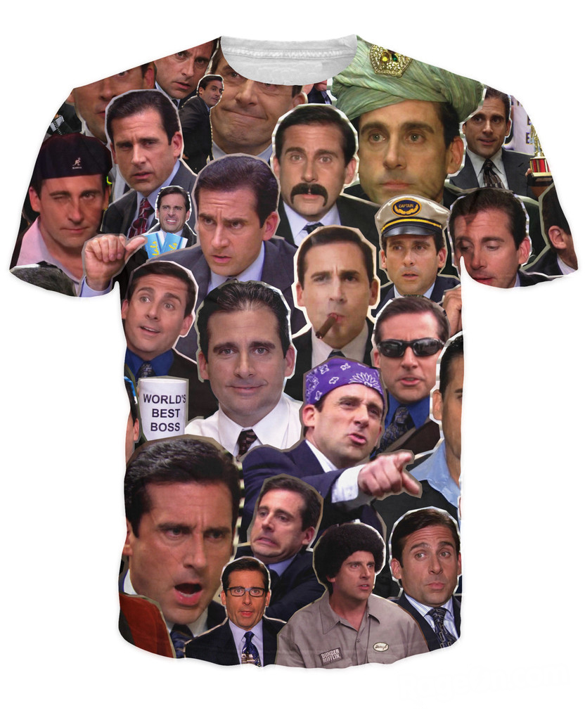 Free Shipping Many Faces of Michael Scott Paparazzi T-Shirt Fashion Summer Style T Shirt Character Tees Tops For Women Men