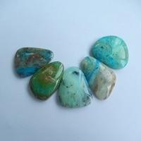 Natural Stone 5Pcs Blue Opal Gemstone Cabochon Setting 30x19x5mm 27x18x6mm 19 6g Semiprecious Stone Trendy Jewelry