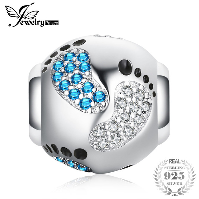 JewelryPalace Happy Childhood Cubic Zirconia Created Blue Sapphire Footprint 925 Sterling Silver Charm Beads 2018 New Hot Sale